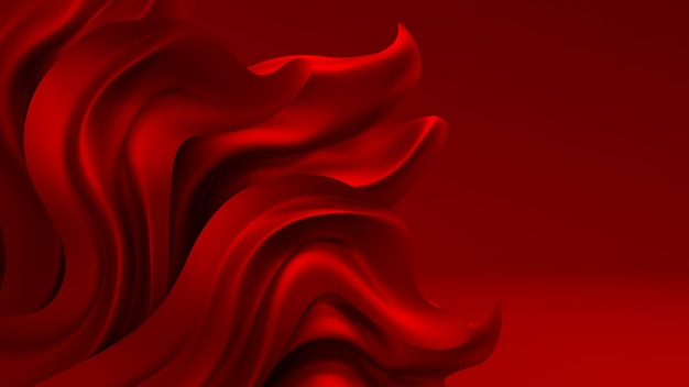 Czerwone tło z tkaniny draperie. 3d ilustracji