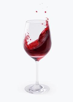 Czerwone wino rozpryskiwania w okularach na białym tle