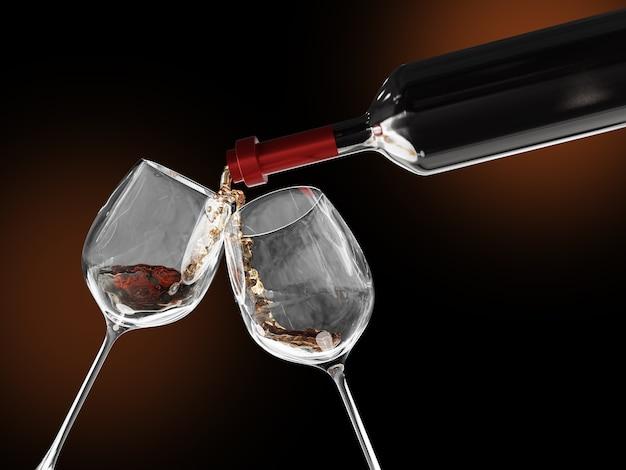 Czerwone wino wlewa się do dwóch kieliszków