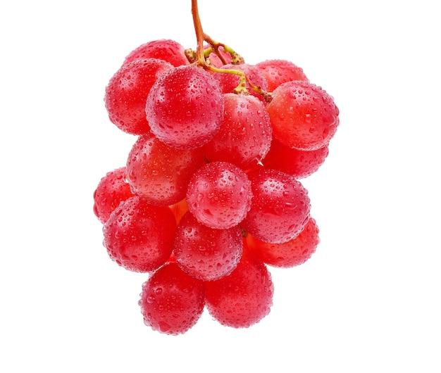 Czerwone winogrona i krople wody na białym tle