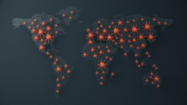 Czerwone wirusy na mapie świata z ciemnym tłem