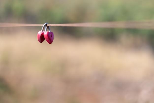 Czerwone zamki w kształcie serca na moście linowym klucz miłości serca