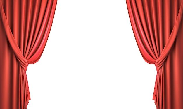 Czerwone zasłony zbierają wstążką. na białym tle. renderowania 3d