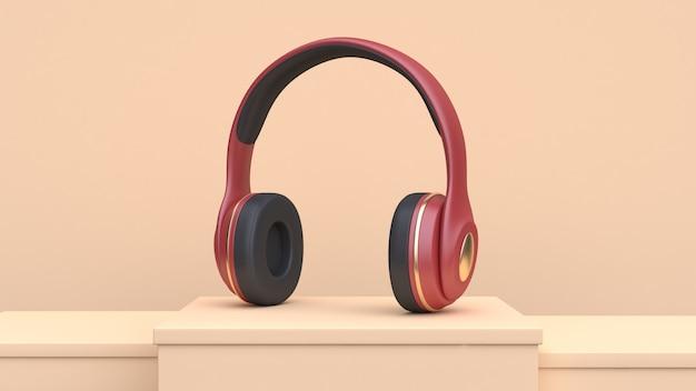 Czerwone złote słuchawki muzyka technologia koncepcja renderowania 3d