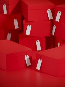 Czerwonego koloru zakupy podium pudełko i sterta kartonowy prezenta pudełek tło. 3d renderowania ilustracja.