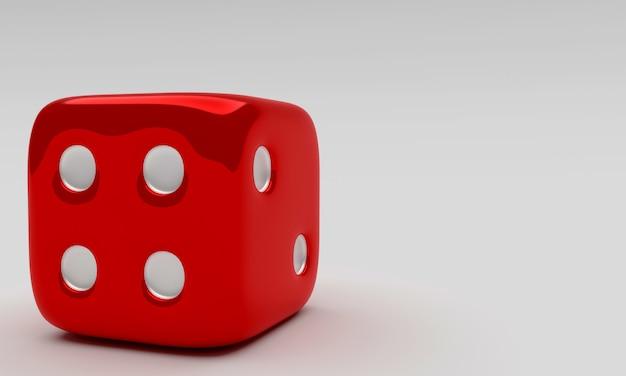 Czerwoni kostka do gry na białym tle