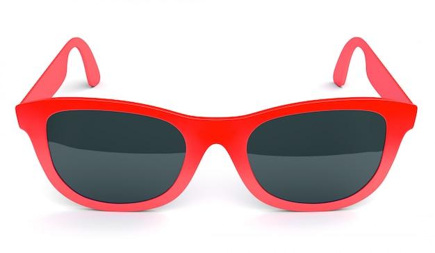 Czerwoni okulary przeciwsłoneczni odizolowywający na bielu