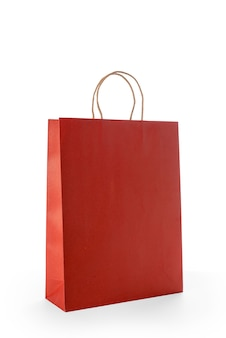 Czerwoni papierowi torba na zakupy odizolowywający