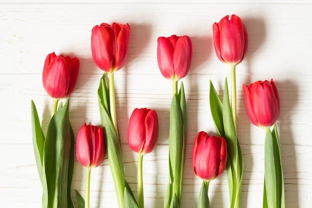 Czerwoni tulipany na białym drewnianym stole. leżał płasko. widok z góry.