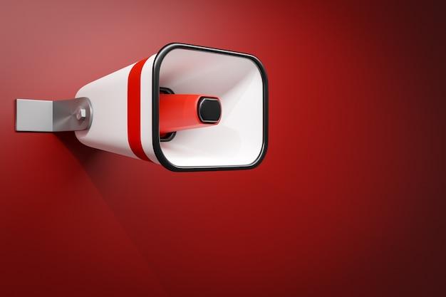 Czerwono-biały głośnik na czerwonym tle monochromatycznym. 3d ilustracją megafonu.