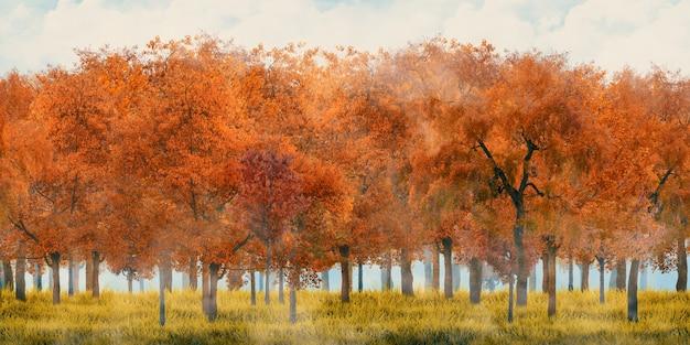 Czerwono-pomarańczowe drzewo i łąki w letnim lesie fantazji świata 3d ilustracji
