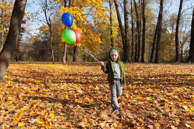 Czerwono-zielono-niebieskie balony z helem na tle żółtych drzew w jesiennym parku, balony są trzymane, a chłopiec spaceruje po parku