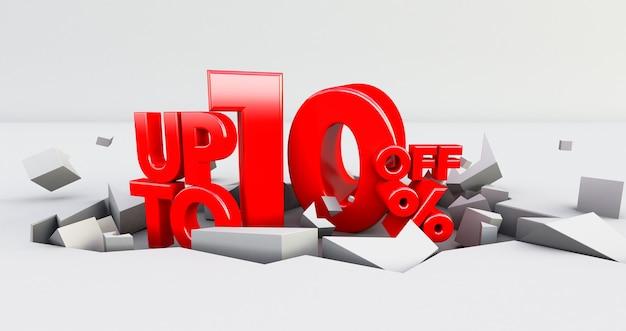 Czerwony 10% liczba izolowana. 10 dziesięć procent sprzedaży. do 10%