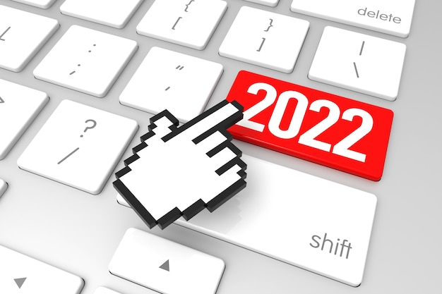 Czerwony 2022 klawisz enter z kursorem w dłoni. renderowanie 3d