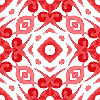Czerwony akwarela handdrawn wzór płytki bez szwu geometryczny wzór