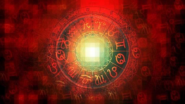 Czerwony astrologia zodiak horoskop wzór tekstury tła, projekt graficzny