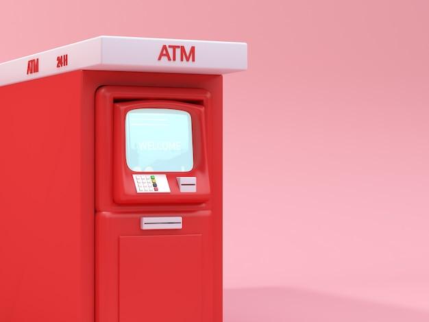 Czerwony atm 3d rendering technologii biznesu