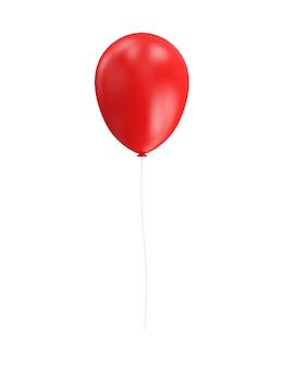 Czerwony balonik na białym tle w renderowaniu 3d