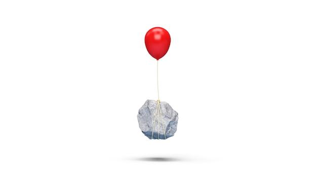 Czerwony balonik z ciężkim kamieniem na białym tle