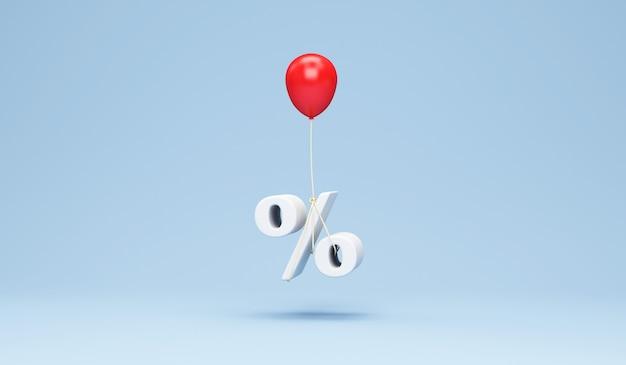 Czerwony balonik z symbolem procentu na niebiesko