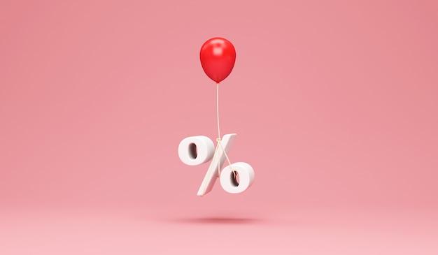 Czerwony balonik z symbolem procentu na tle różowego studia