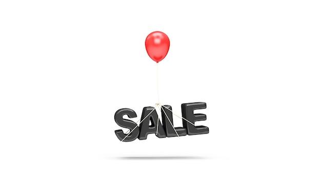 Czerwony Balonik Z Symbolem Sprzedaży Na Białym Tle Premium Zdjęcia
