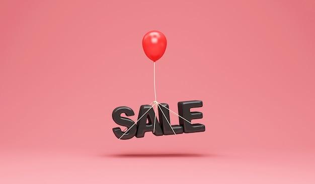 Czerwony balonik z symbolem sprzedaży na tle różowego studia