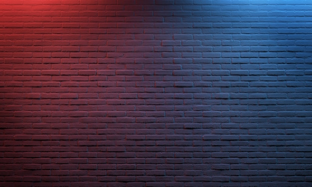 Czerwony błękit zaświecający ceglany tło