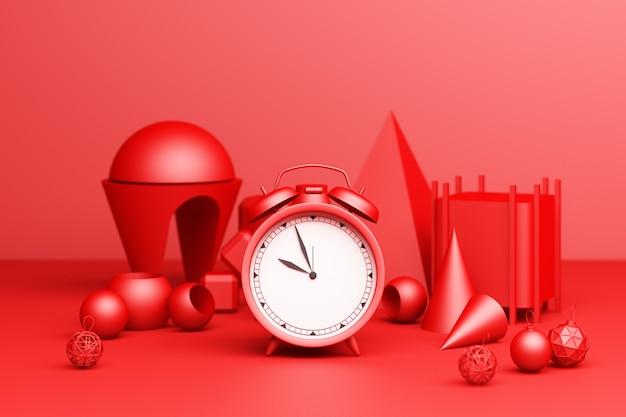 Czerwony budzik z czerwonym geometrycznym kształtem na czerwonym tle. renderowanie 3d