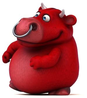 Czerwony byk - ilustracja 3d