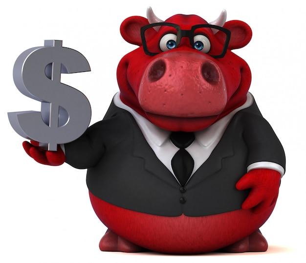 Czerwony byk ze znakiem dolara