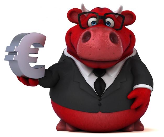 Czerwony byk ze znakiem euro