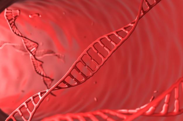 Czerwony chromosom na czerwonym tle abstrakcyjne tło dla nauki lub medycyny