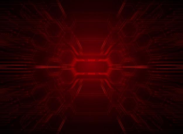 Czerwony cyber obwód przyszłości technologii koncepcji