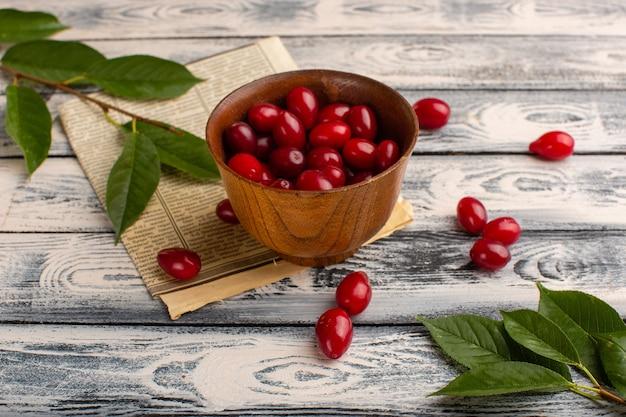 Czerwony dereń wewnątrz brązowej miski na szaro