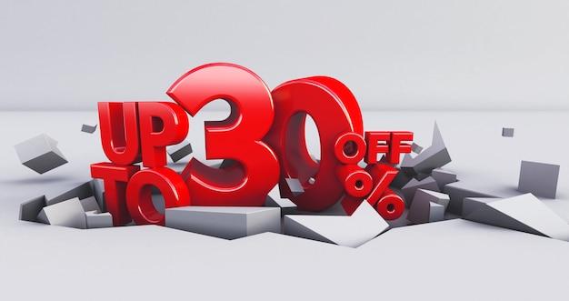 Czerwony do 30% izolowany 0,30-trzydzieści procent sprzedaży.