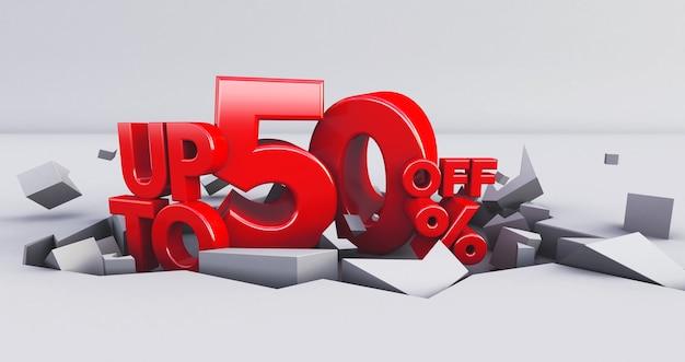 Czerwony do 50% izolowany. 50 pięćdziesiąt procent sprzedaży.