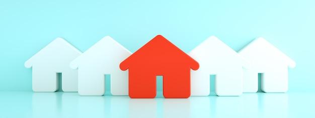 Czerwony dom wśród białych domów, koncepcja polowania i wyszukiwania, renderowanie 3d, obraz panoramiczny