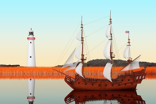 Czerwony drewniany vintage wysoki żaglowiec, karawela, statek piracki lub okręt wojenny w ekstremalnym zbliżeniu rzeki. renderowanie 3d