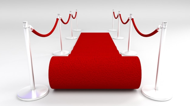 Czerwony dywan na białym tle
