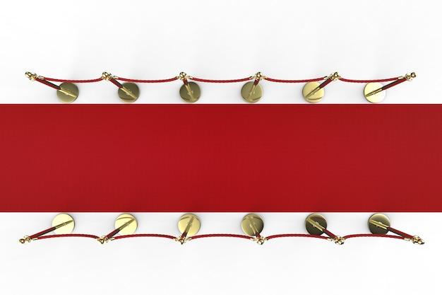 Czerwony dywan renderujący 3d z barierą linową