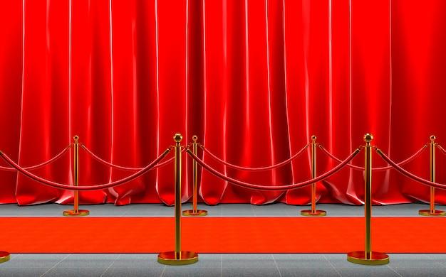 Czerwony dywan ze złotymi barierkami i czerwoną liną