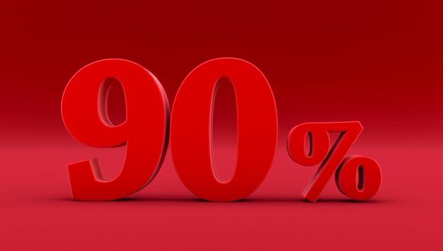 Czerwony dziewięćdziesiąt procent na czerwonym tle. renderowania 3d. 90%
