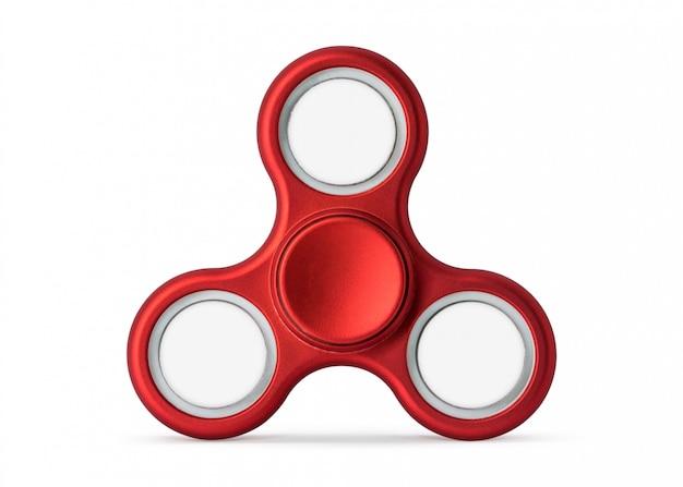 Czerwony fidget kądziołek odizolowywający na białym tle