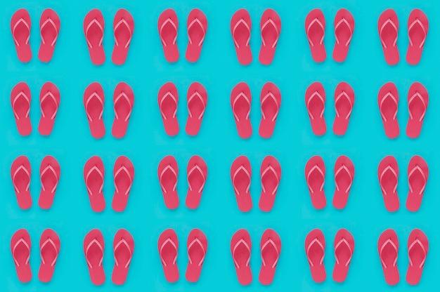 Czerwony flip flop wzór na lato