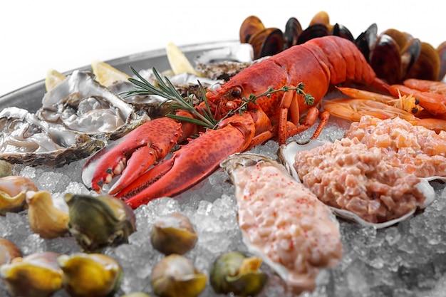 Czerwony homar na lodzie z przegrzebkami, krewetkami i małżami