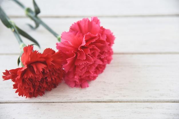 Czerwony i różowy kwiat goździka kwitnący na biały drewniany
