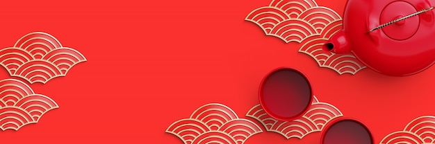 Czerwony i złoty kształt fali orientalne geometryczne i dzbanek do herbaty na czerwonym tle. 3d renderowania ilustracja.
