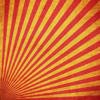 Czerwony i żółty grunge sunburst rocznika tło z przestrzenią