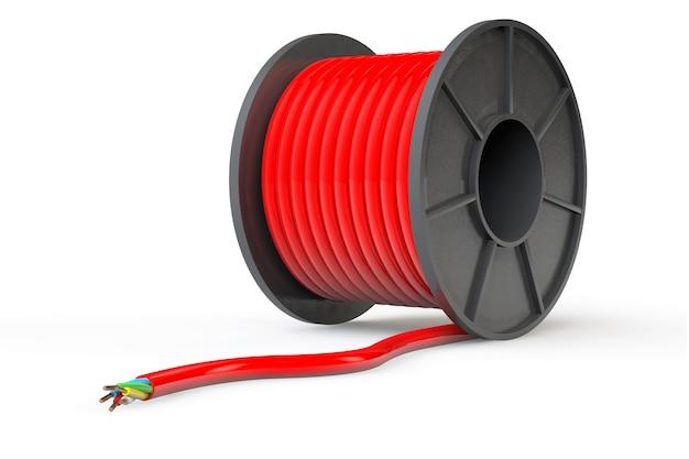 Czerwony kabel elektryczny na białym tle